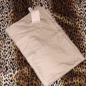 NWT Calvin Klein tan nude scarf polka dots